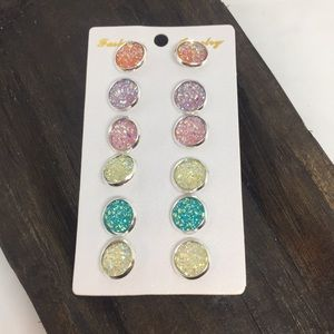 NEW Set of six druzy earrings! Pastels